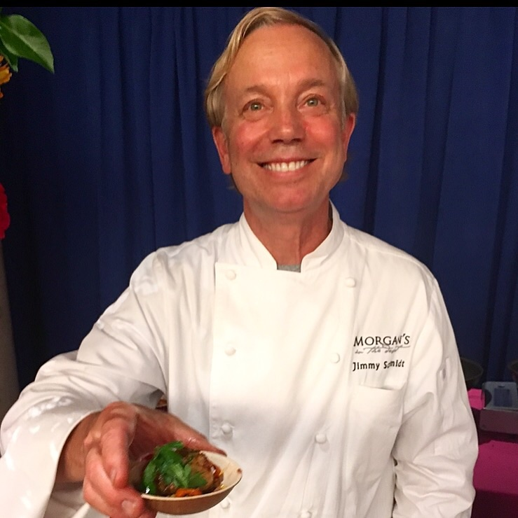 Jimmy Schmidt of  Morgan's In The Desert,  La Quinta, CA serving his cilantro crusted sea scallops with chile chimichurri, salsa, sweet corn and epazote black bean cake