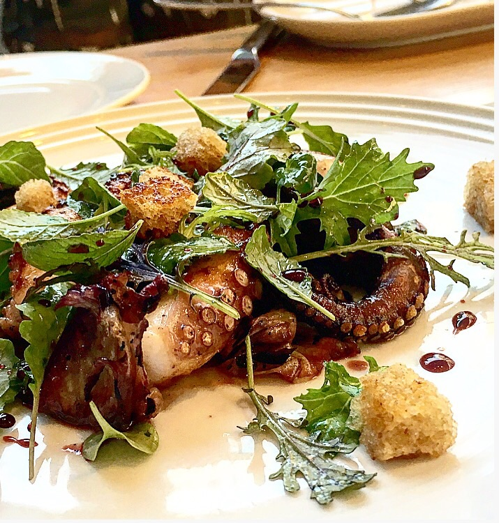 The octopus had a fruity flavor from the red wine and meyer lemon glaze. My daughter said the dish tasted like a popsicle! It wasnt too sweet though. It had a really good balance of tart,sweet and bitter flavors.