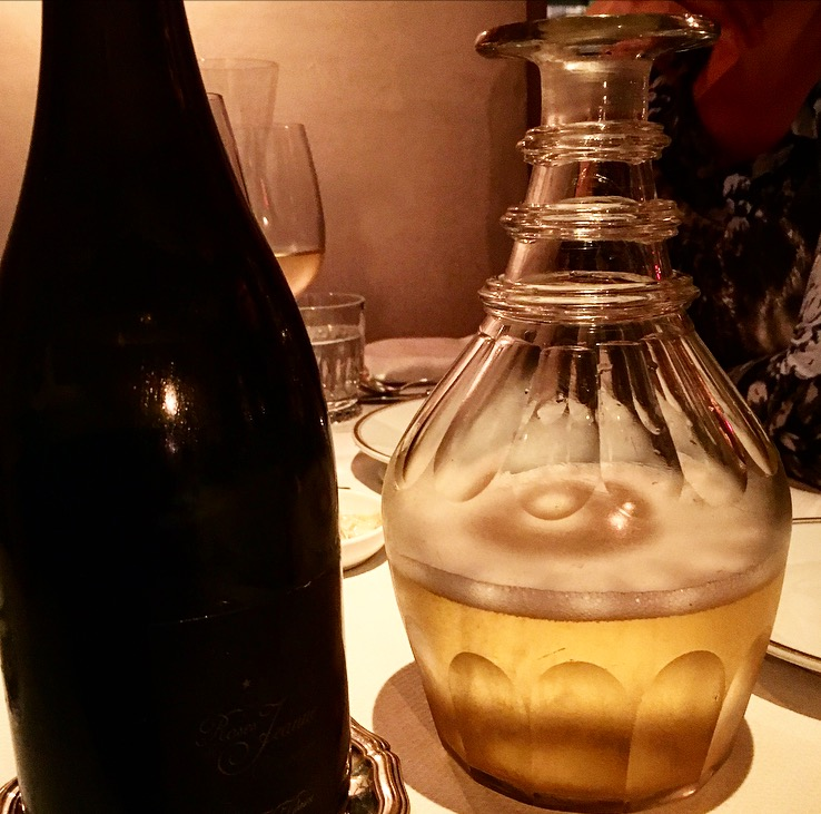 The beautiful vintage decanter filled with Champagne!