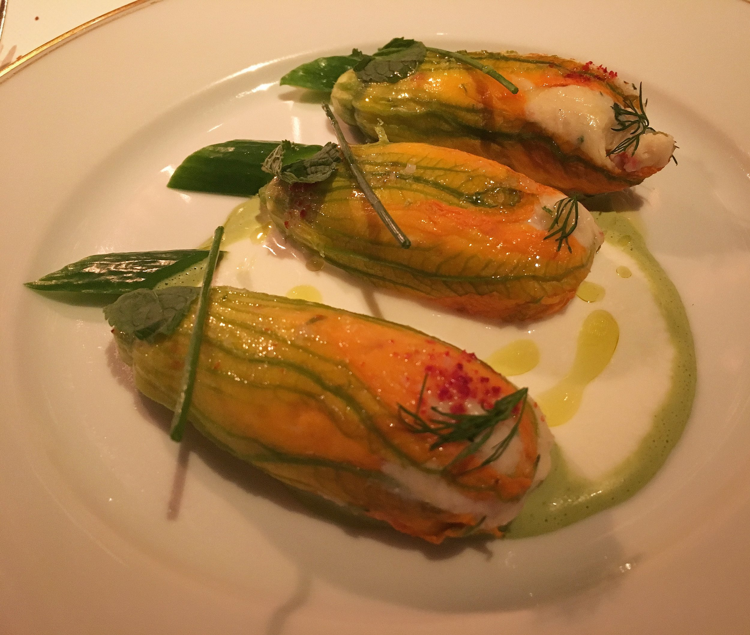 Squash blossoms with yoghurt, mint and dill, Le Coucou