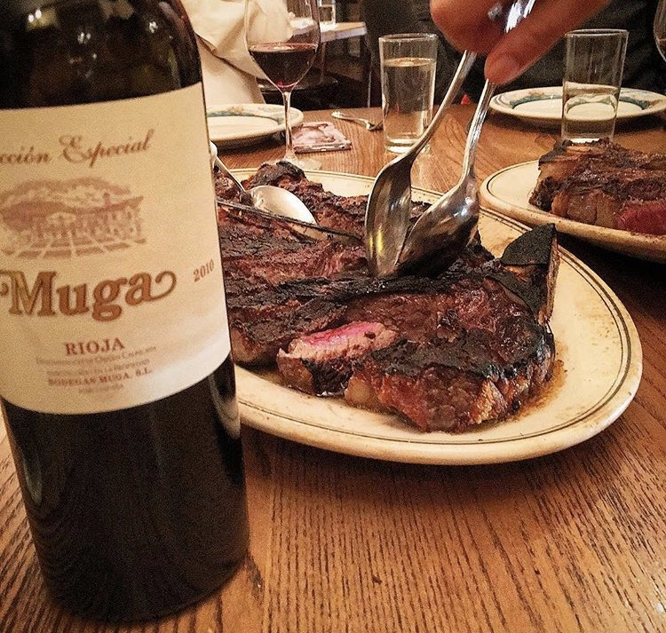 The famous Peter Luger Porterhouse paired well with this red wine from rioja.