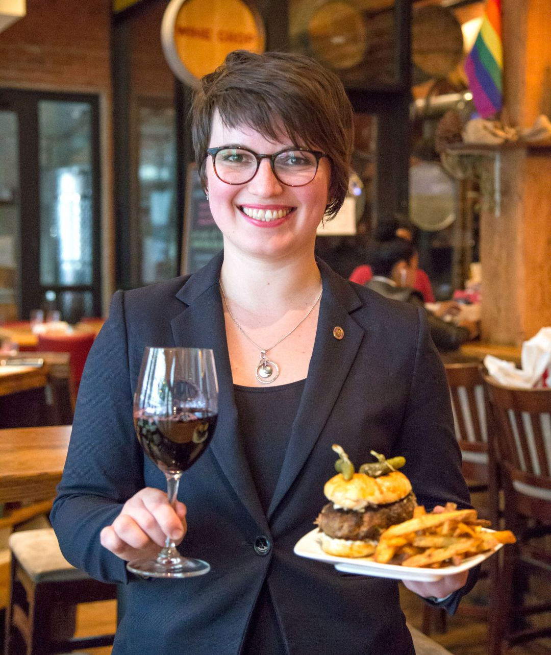 "Ganna Federova, Beverage Director at City Winery with Lamb Tzaziki Sliders paired with a Napa Valley Cab Franc. Ganna says that the wine is   ""rich and complex enough to complement lamb meat, and its floral freshness pairs delightfully with the zesty feta and herby creaminess of the tzaziki."""