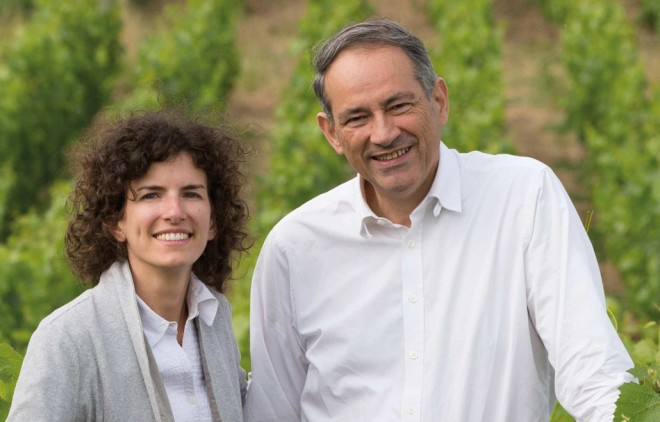Alice Paillard in the vineyards with her father.