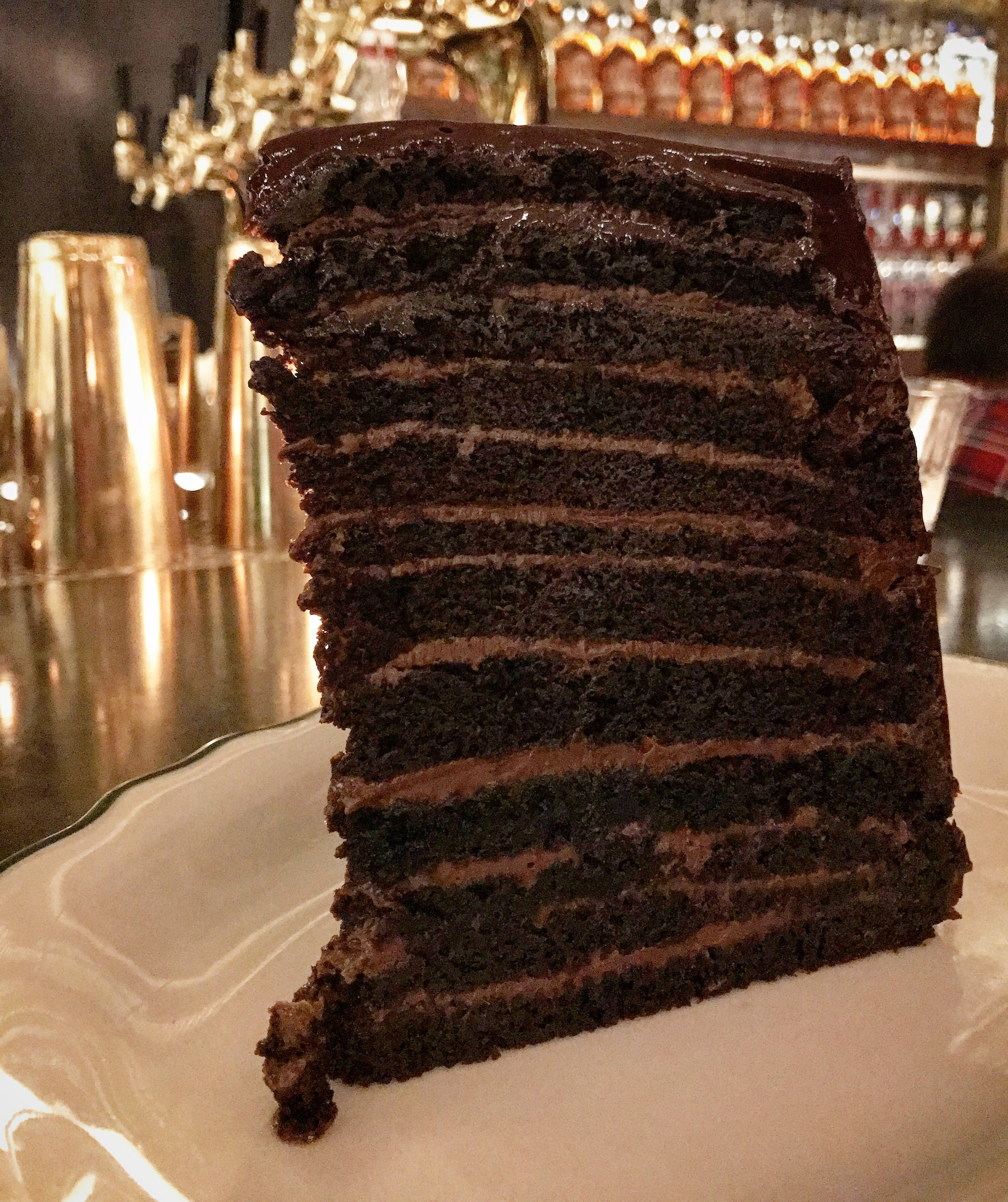 Decadent 12 layer chocolate cake at Maison Pickle