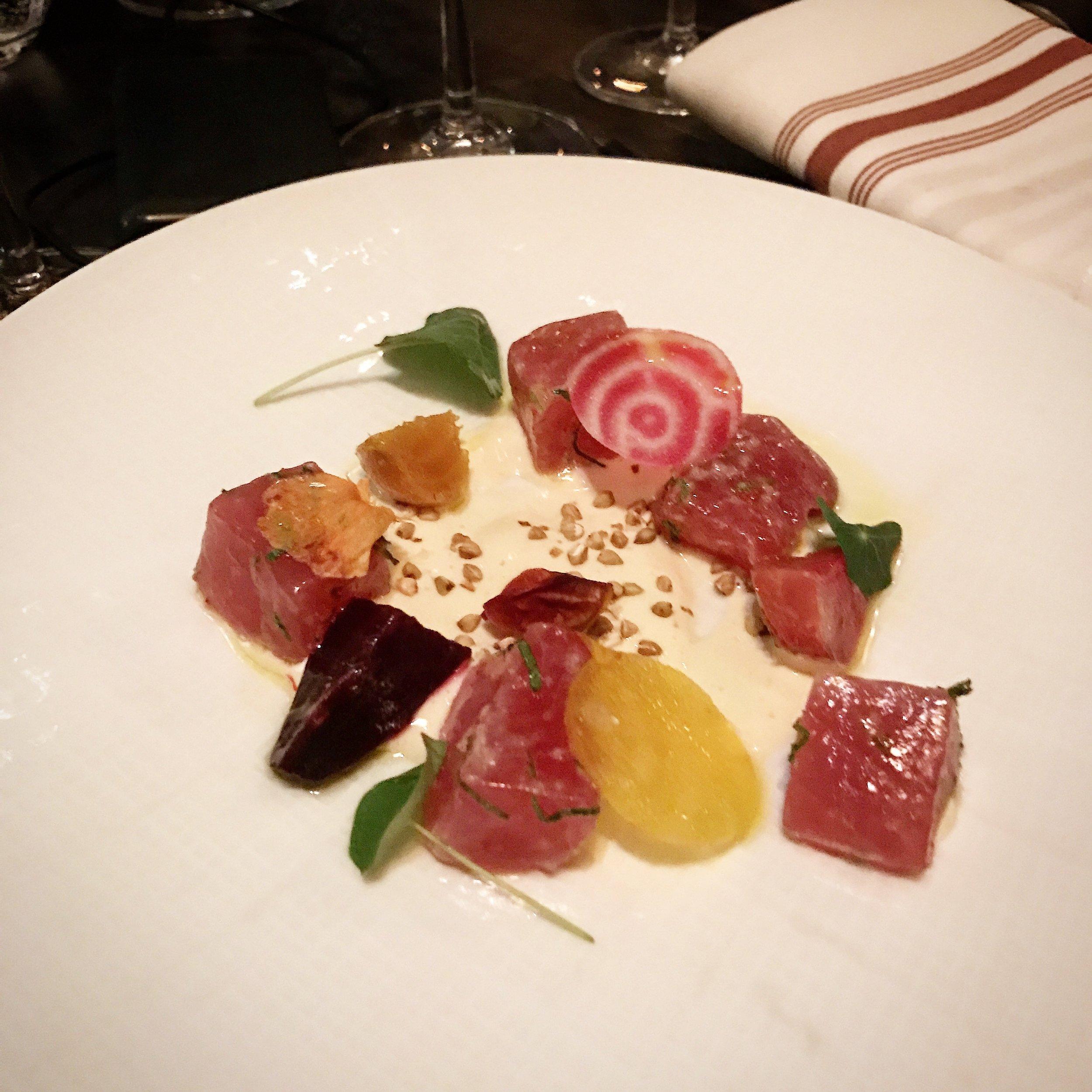 Racine's tuna crudo with citrus cream and beets