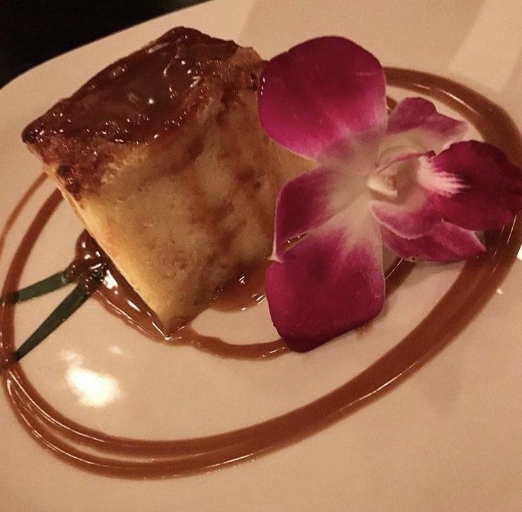 Bread Pudding with caramel sauce at Bond Street