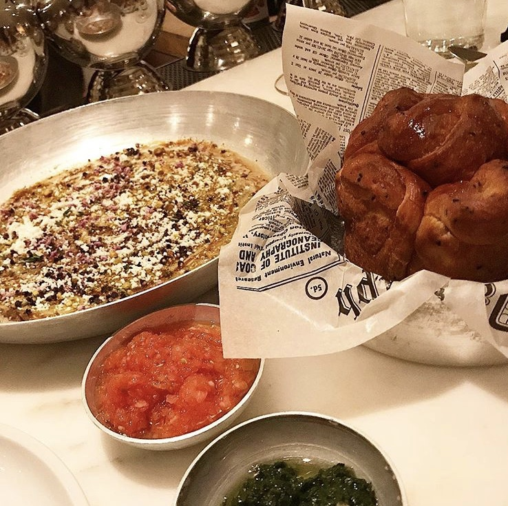 Excellent Kubaneh bread and eggplant meze at Nur.