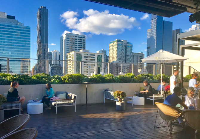 City views and excellent drinks at the Rooftop at The QT Melbourne