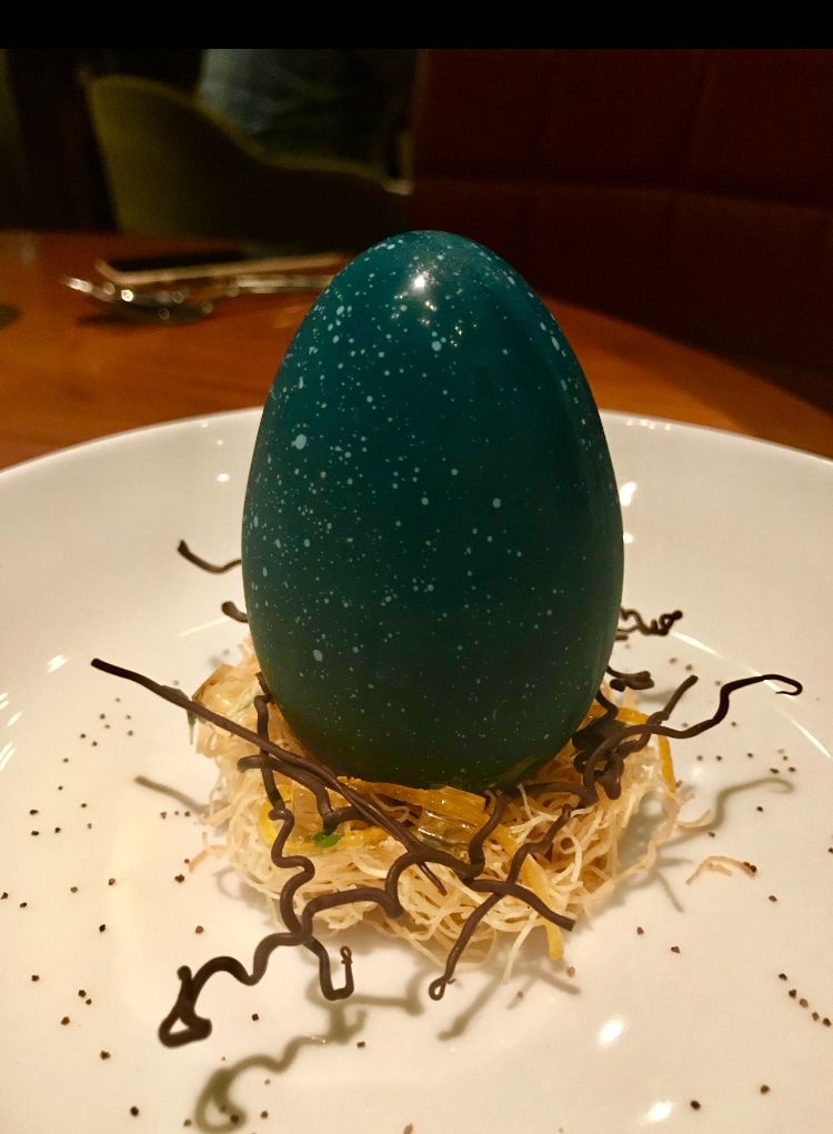 This Birds egg dessert had a white chocolate crust and was filled with coconut parfait.
