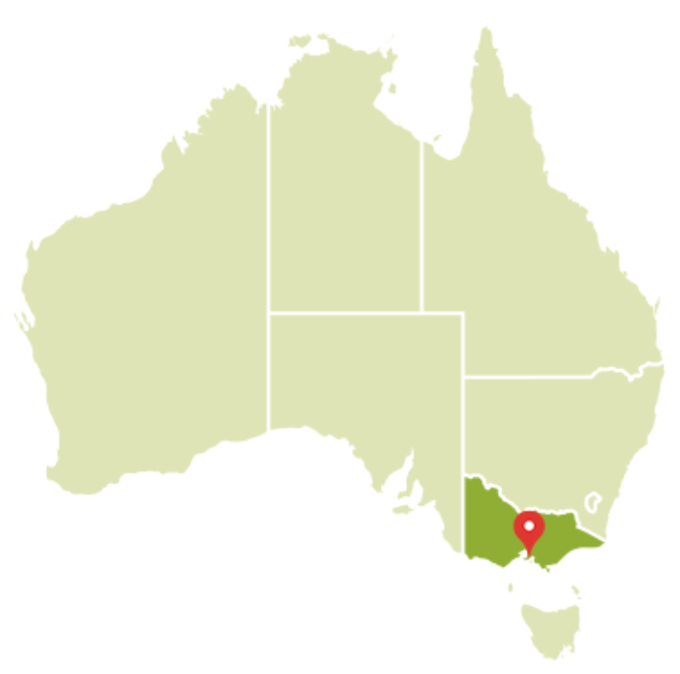 Map of Australia indicating the Mornington Peninsula in the state of Victoria