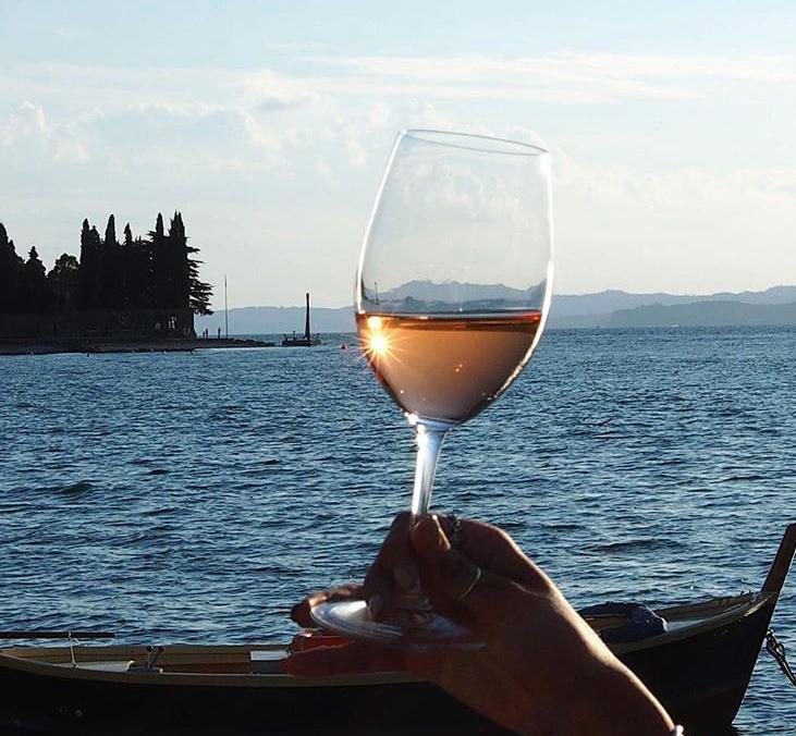 Enjoying Chiaretto on Lake Garda.   (Photo courtesy of Wine Bardolino)