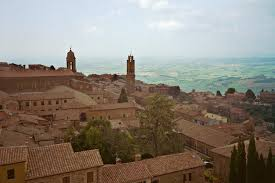 The Tuscan town of Montalcino is perched high upon a hill.