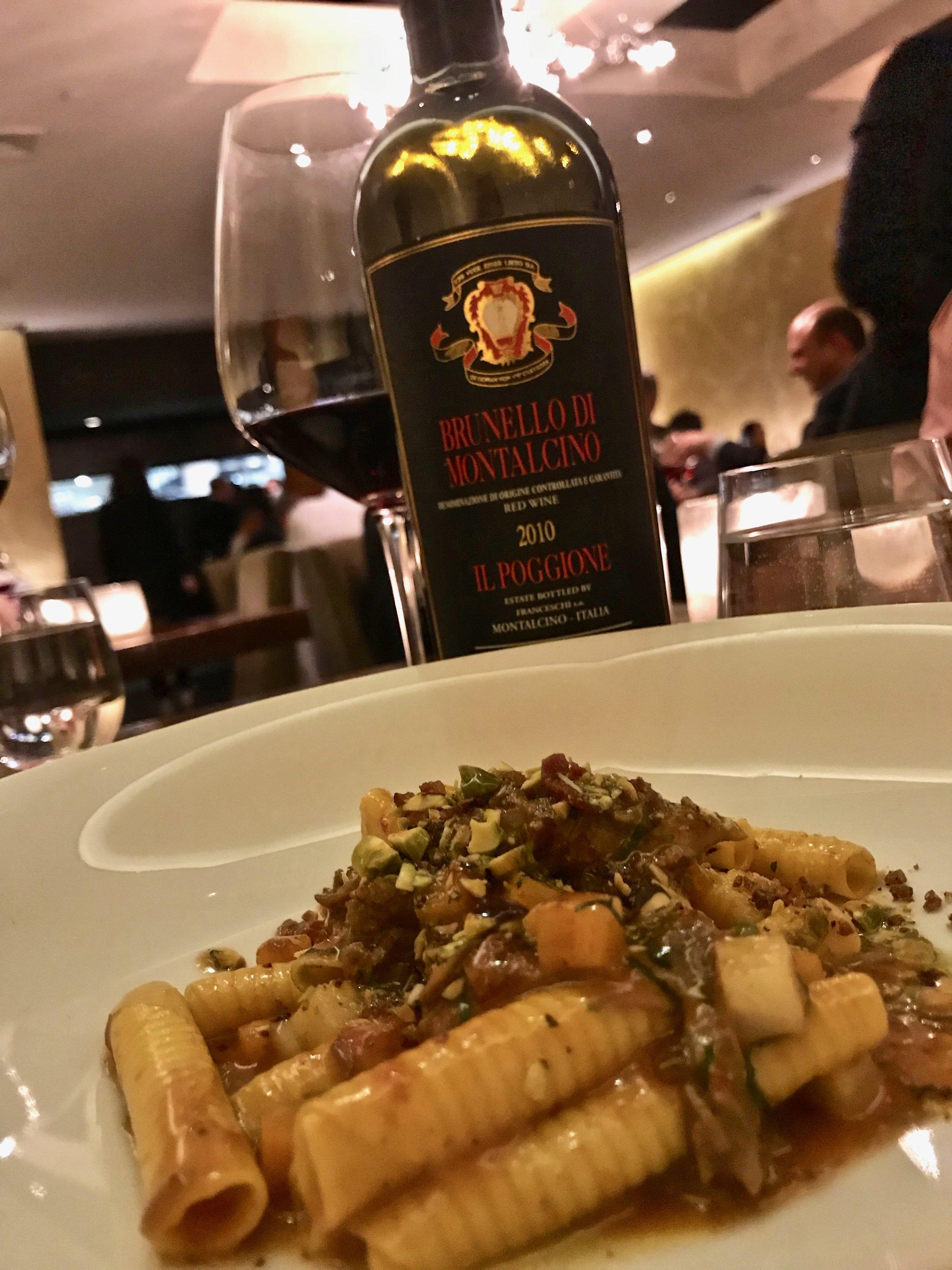 Pasta with a delicous Il Poggione 2010 Brunello at Bâtard.