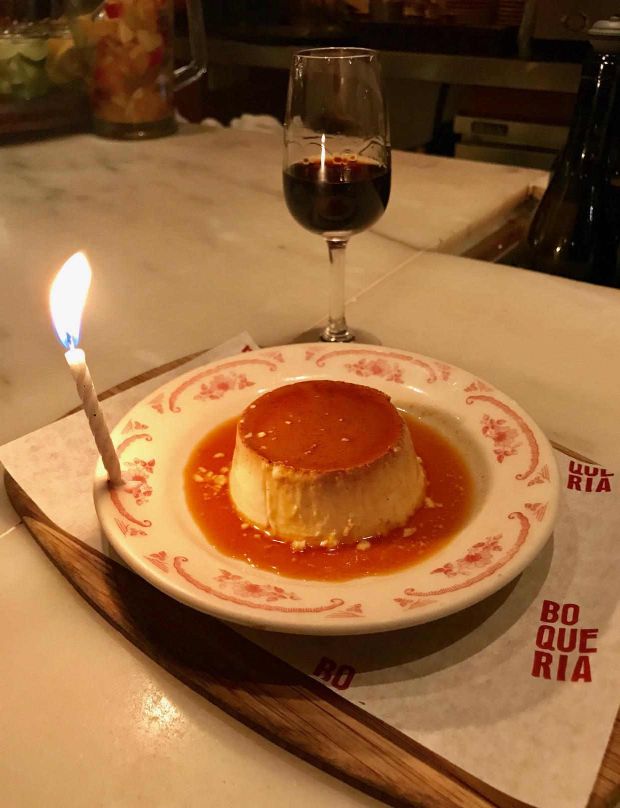 Happy Birthday flan at Boqueria Soho!