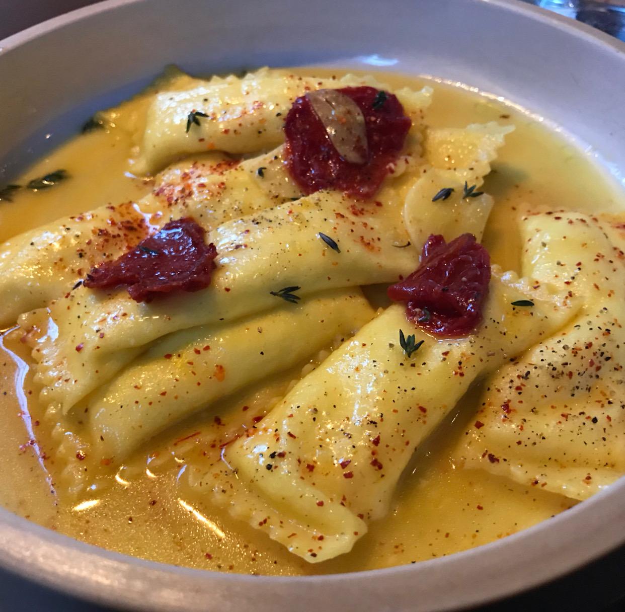 The incredible honey garlic ricotta agnolotti at Lilia.