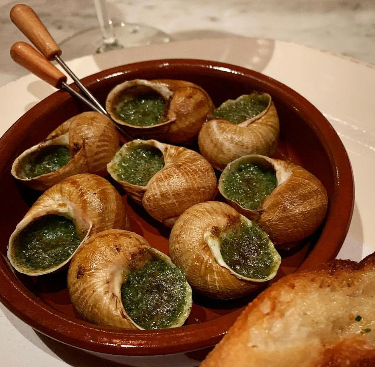Amazing escargot at Trattoria Italienne.