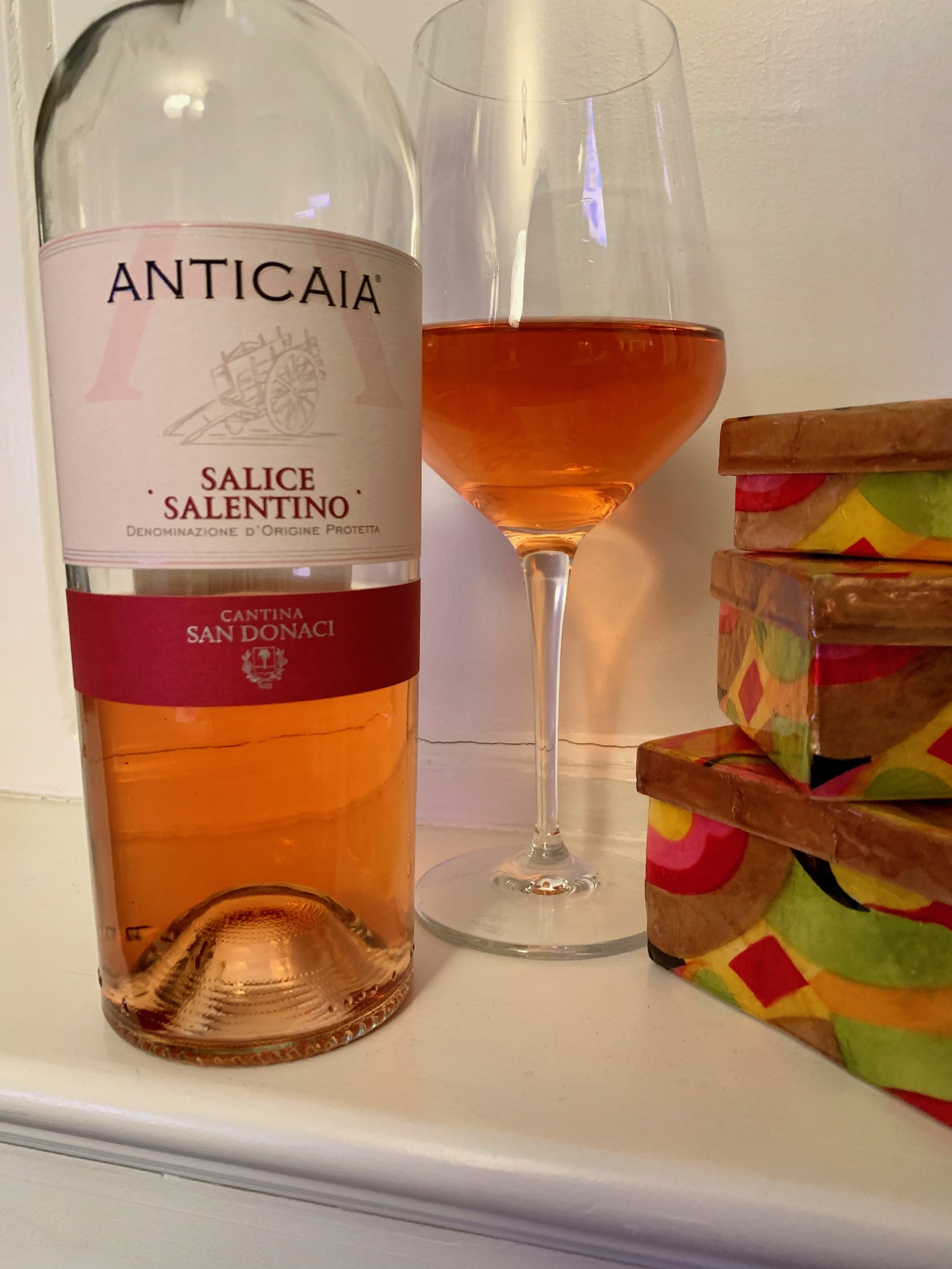 As its color suggests, the Anticaia Rosato from    Cantina San Donaci    is full of fresh and intense fruit aromas and flavors ( a little too much like cherry cough syrup): strawberry, cherry, pomegranate, and plum.