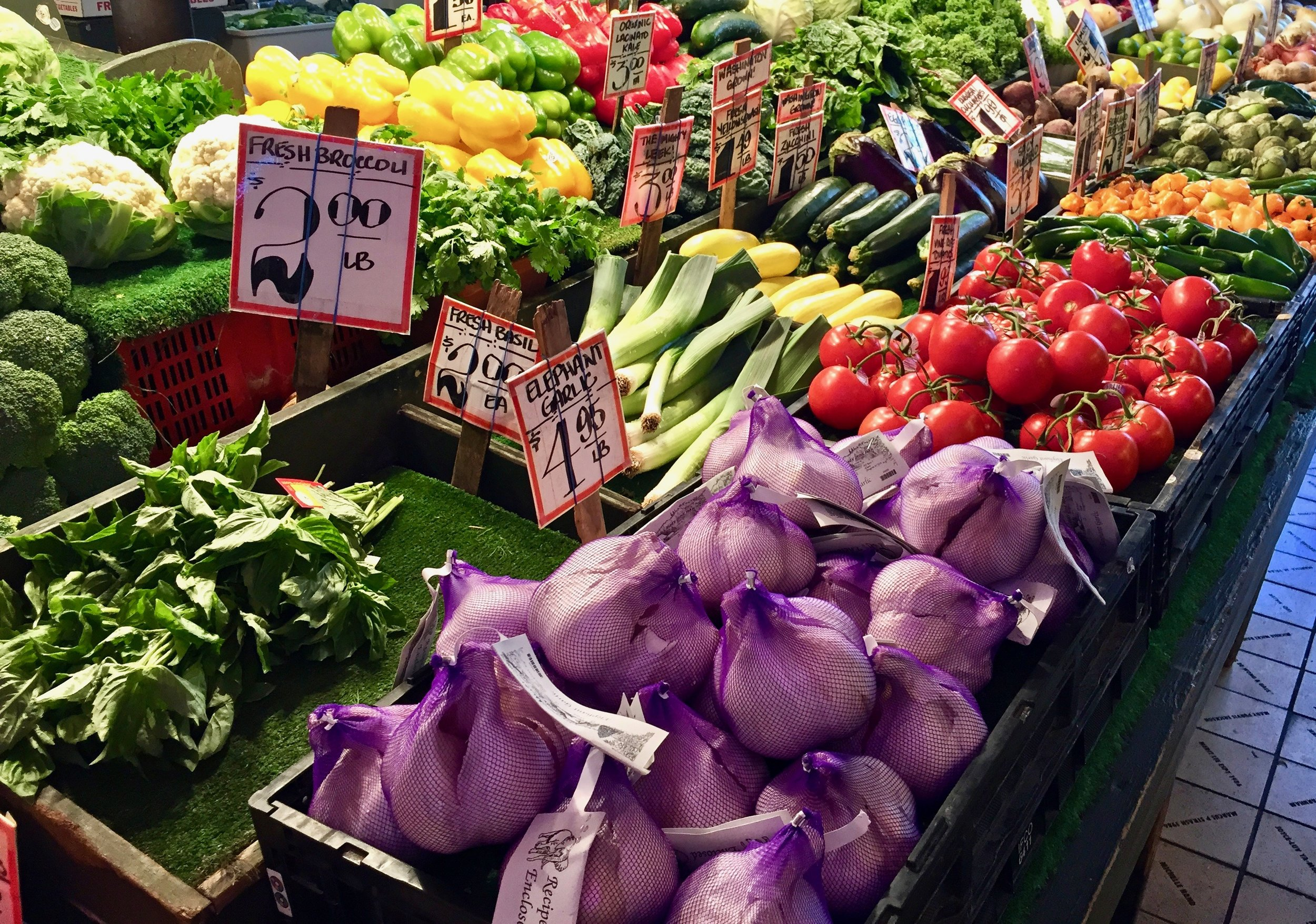 Fresh vegetables at Pike Place Market.