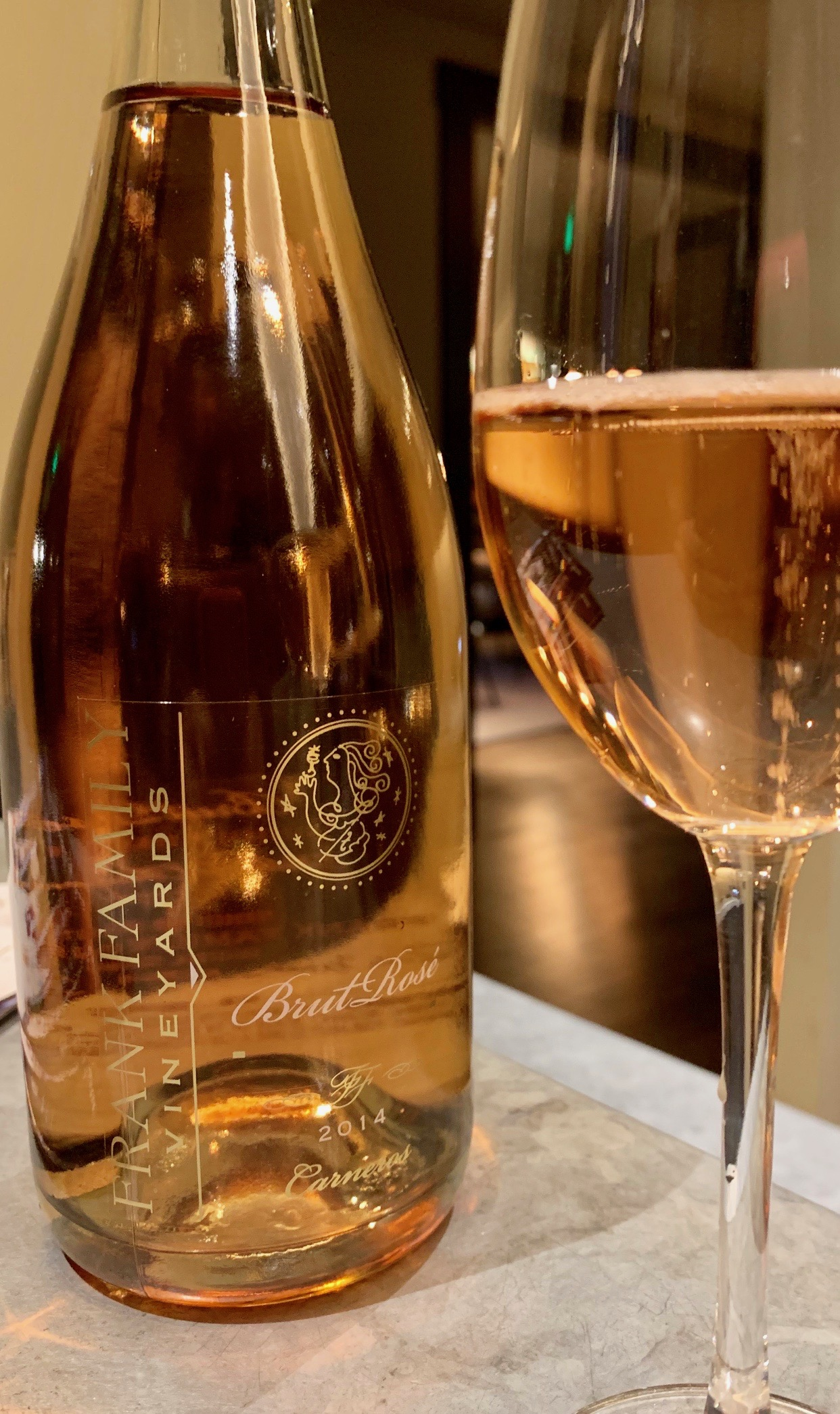 Frank Family Vineyards    Brut rosé, a blend of Pinot Noir and Chardonnay, is a vibrant, well-balanced sparkler.