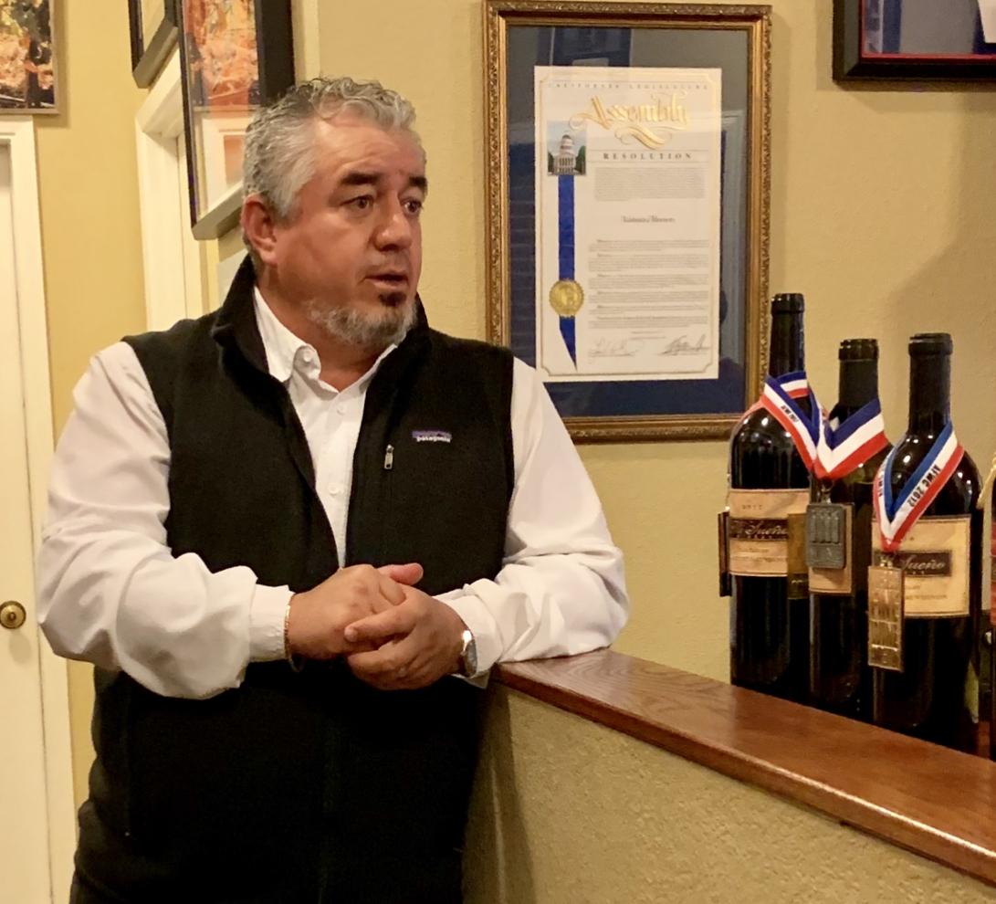 Rolando Herrera at Mi Sueño with his award-winning wines.