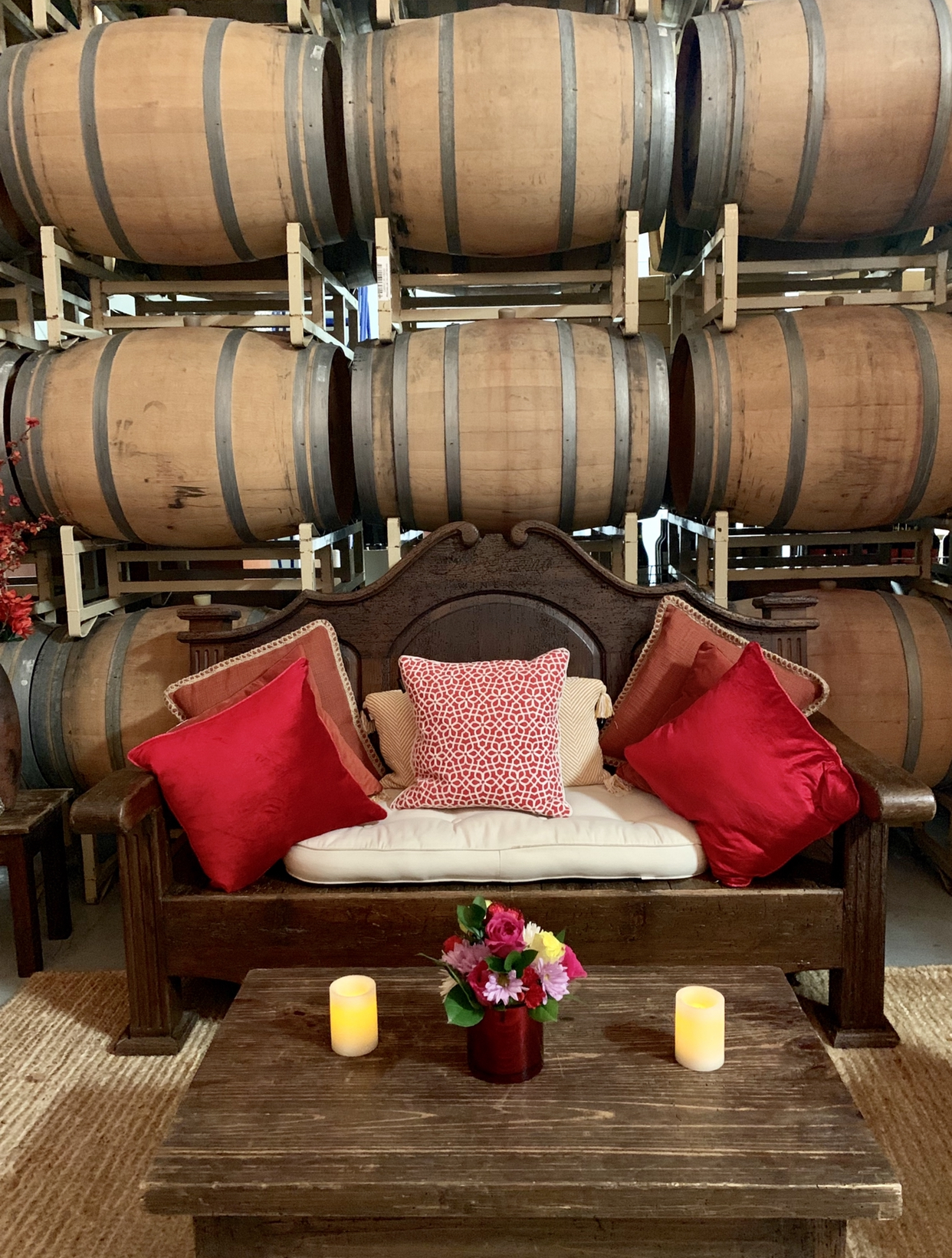 Tastings are conducted in Mi Sueño's barrel room.