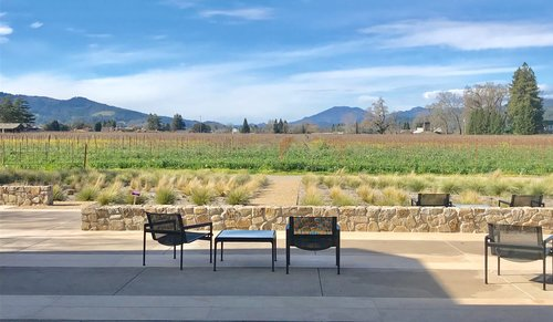View from The Wheeler Farm Hospitality house looking over vineyards.