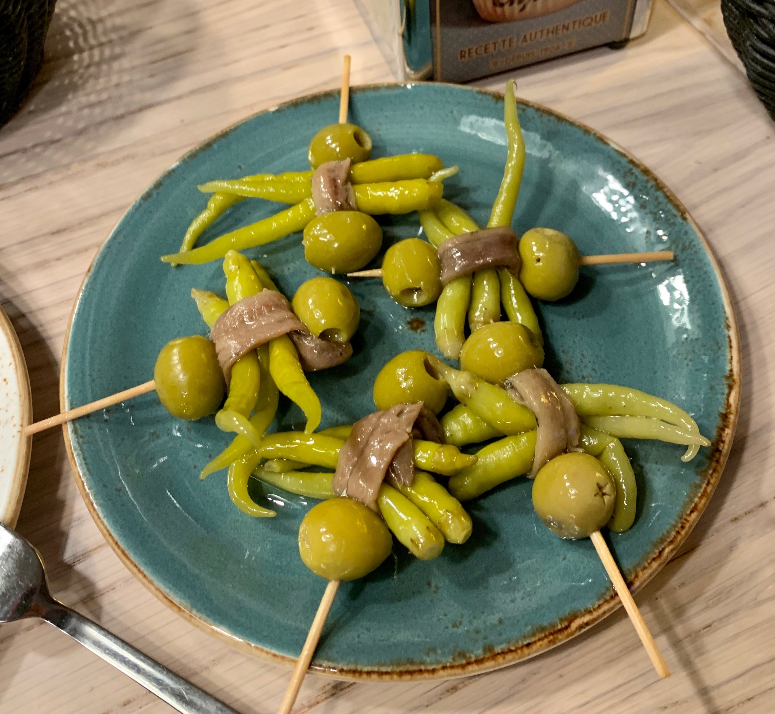 "The iconic ""Gilda"" tapas: guindilla peppers, manzanilla olives and anchovies."
