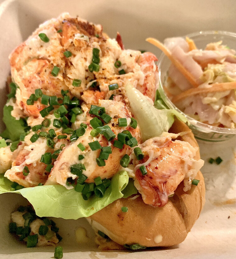 Seamore's lobster roll, full of big chunks of tasty meat and perfect with the Rioja whites and rosés.