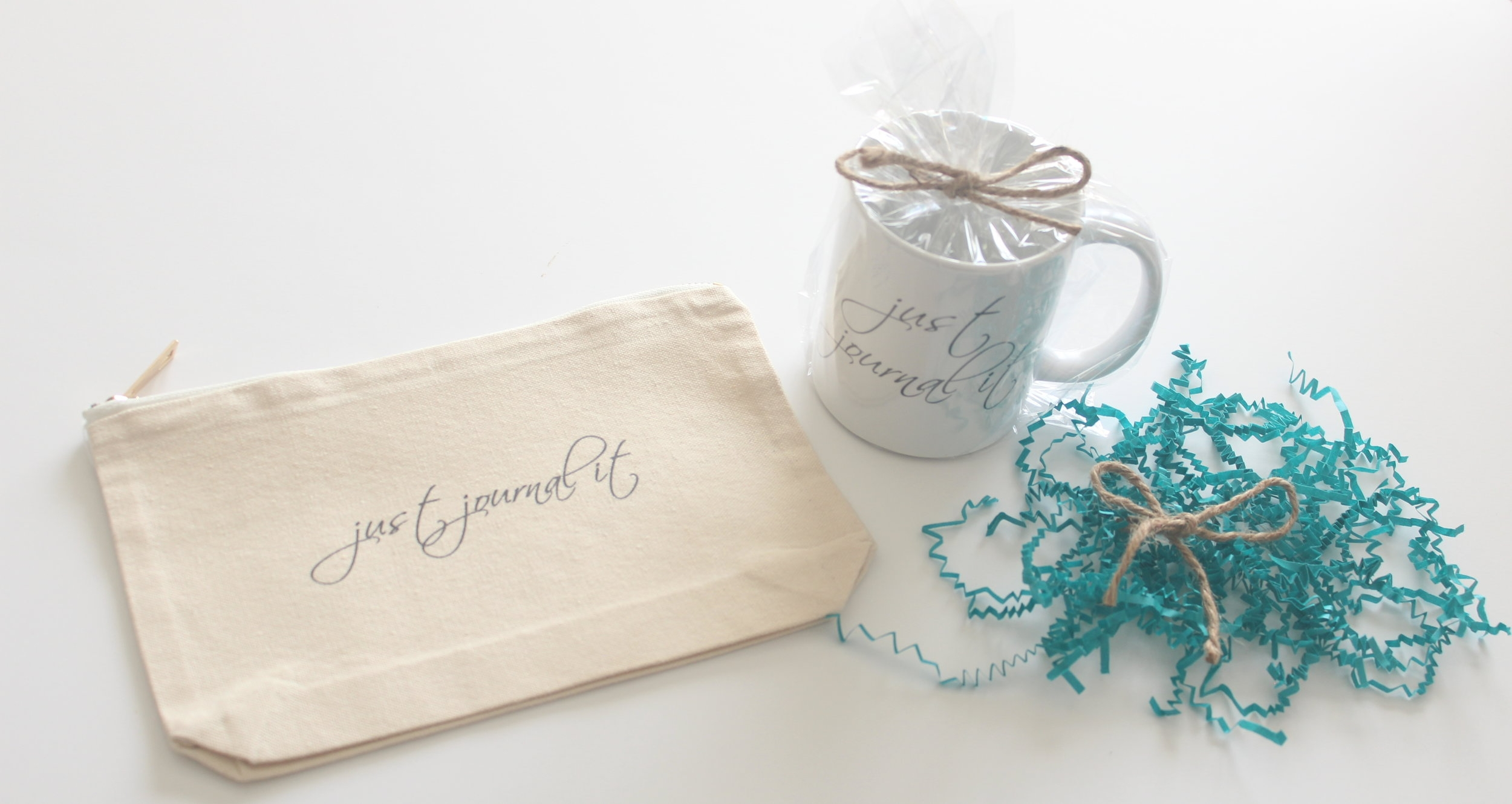 pen pouch and just journal it mug