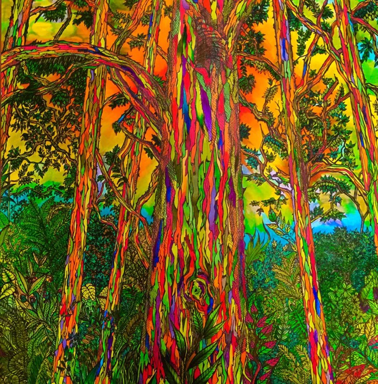 Detailed Art: Lisa Grosfeld /  Eucalyptus Deglupta  (Rainbow Eucalyptus Tree)