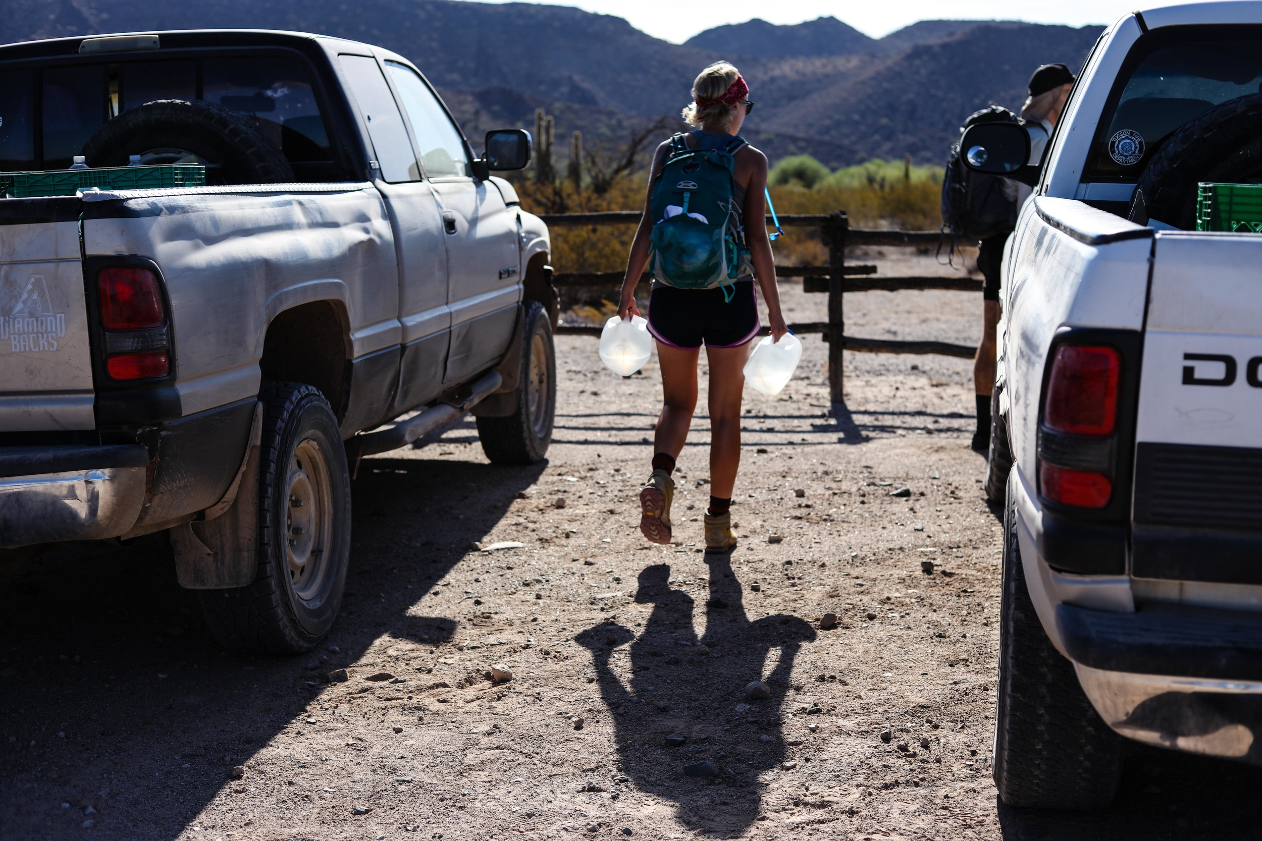 While the trucks have access to unpaved roads that splinter throughout the desert, most of the work must be done on foot. At 7:30am, it is 106 degrees in Ajo, AZ.