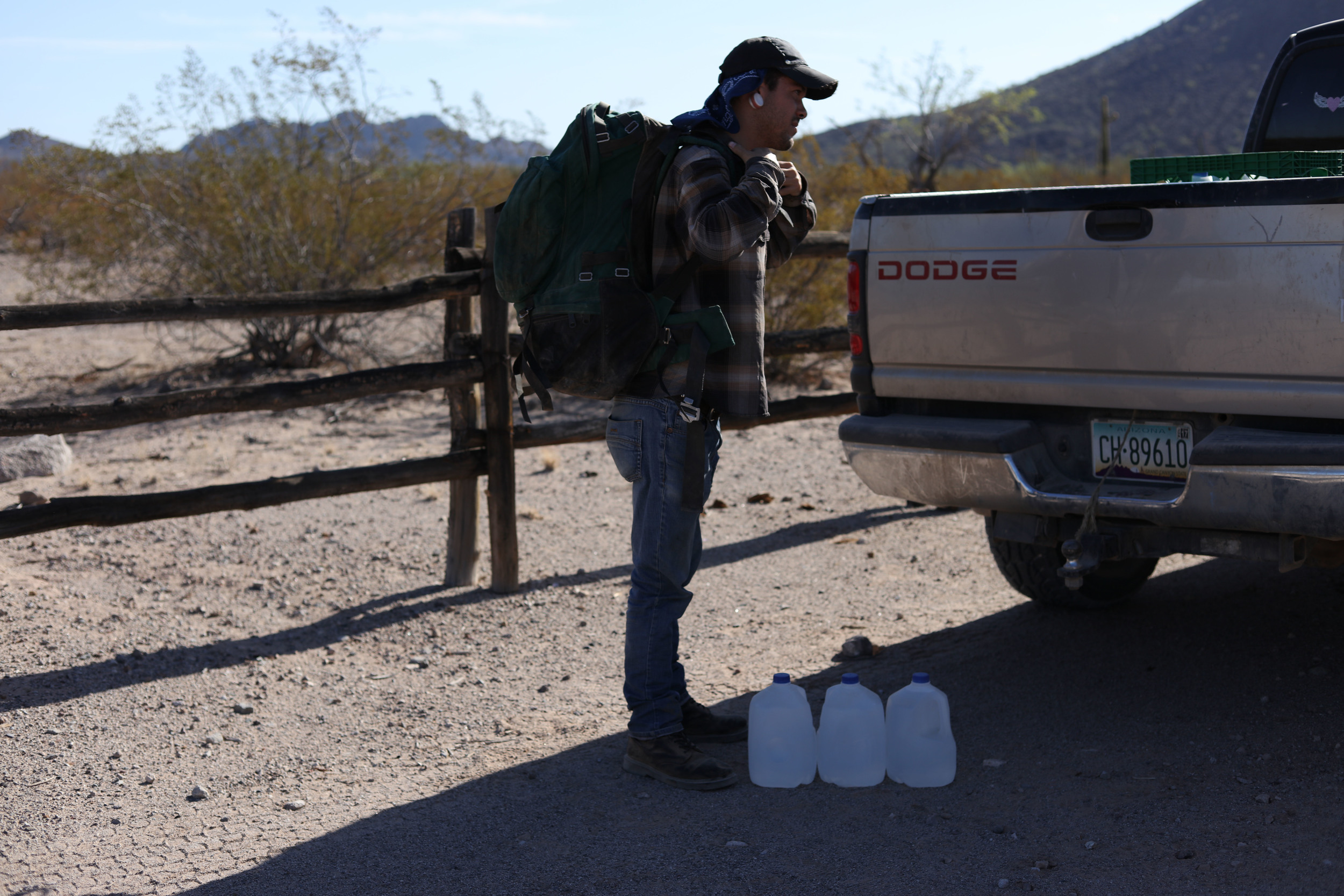 Volunteers carry 6-8 gallons of water into the desert, in addition to their own personal water. They carry in excess of 60 pounds of weight in their backpacks on any given hike. At 10am it is 106 degrees.