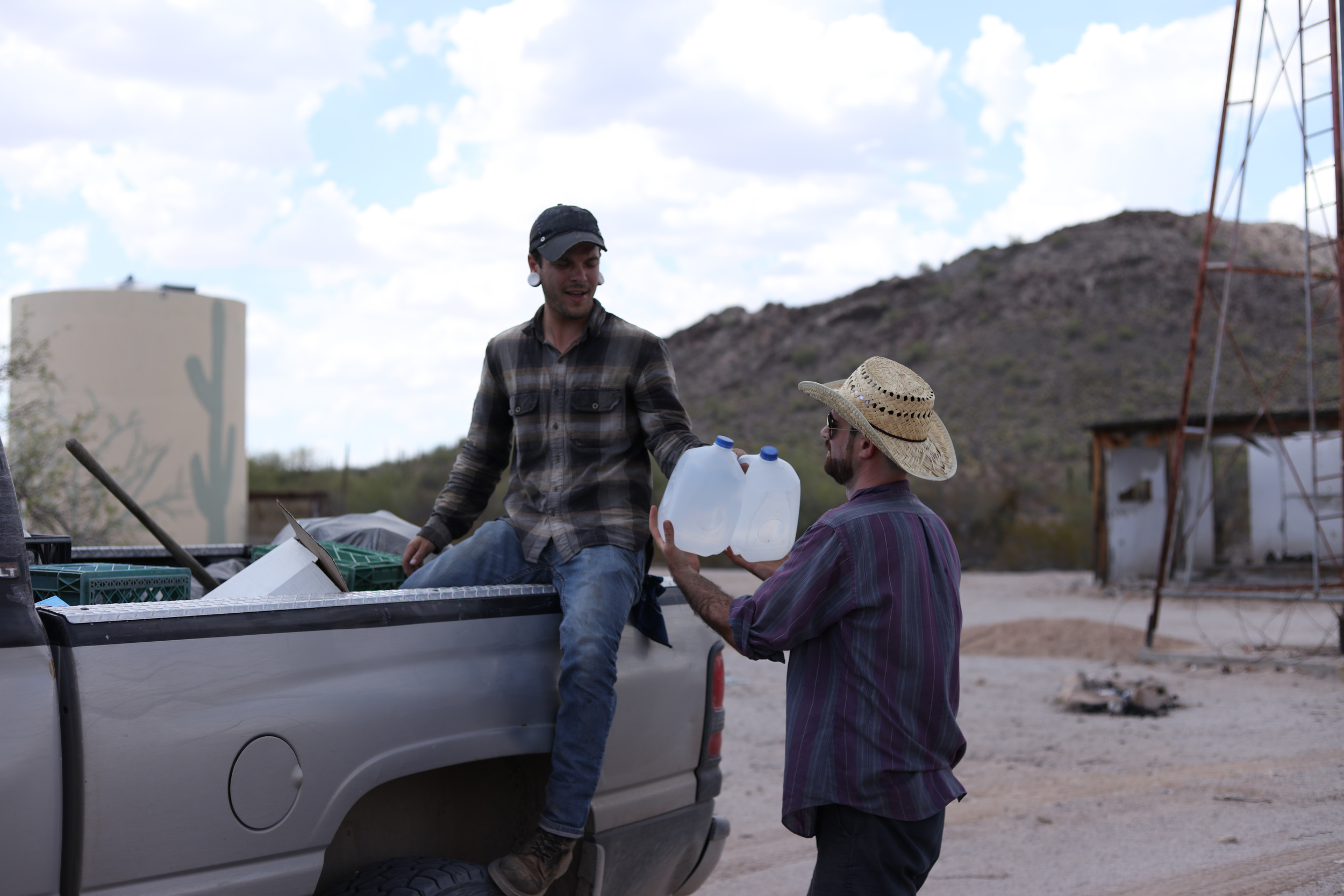 The water is hot enough to make coffee, as it sits in the back of the truck for long periods of time exposed to the sun.