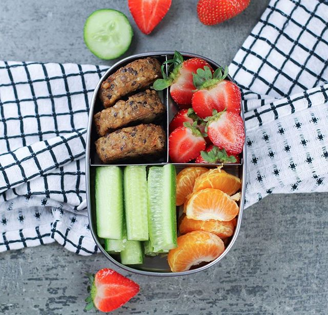 Meal prep snacks sorted! Bento box packed with strawberries, mandarin, cucumber and @bitemefinefoods organic Green Lentil Veggie Patties! 😋 . . . . . . . . . . . #goodfood #wholefood #nourish #wholefoods #veganeats #vegan #healthyfoodshare #dairyfree #glutenfree #organic #jerf #wellness  #eatclean #eatwell #healthyeats #realfood #healthyfoodshare #eattherainbow #plantbased #healthysnack #vegansofig #foodie #cleaneats #cleaneating #glutenfree #feedfeed #sugarfree #nutrition #food52