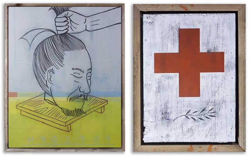 Left-David-Bray-Popcorn-Paint-pen-pencil-on-wood-tray-framed-in-reclaimed-wood-Right-David-Bray-Fire-Tool-Paint-pen-pencil-on-wood-tray-framed-in-reclaimed-wood-e1427068130881.jpg