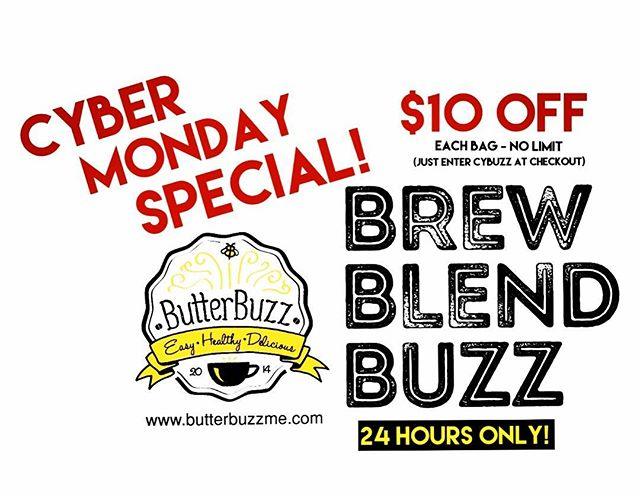 #cybermonday! If you haven't yet tried  easy to make, delicious and nutritious ButterBuzz--the quickest way to make #bulletproofcoffee--now's your chance to save $$ and see what all the #buzz is about! ☕️❤️☕️ ----------- #healthy #delicious #easy #paleo #ketogenic #organic #grassfed #intermittentfasting #crossfit #fatburner #metabolicboost #collagen #proteinpacked #mommylife #caffeine #coffee #yummy