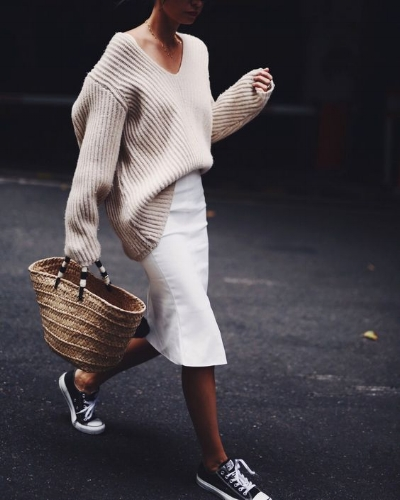 wool jumper with skirt