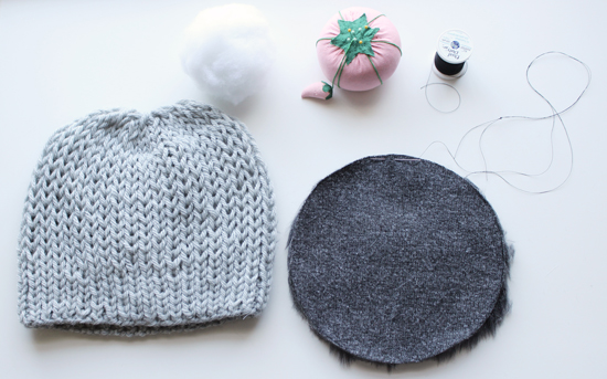 15 Minute DIY: Faux Fur Pompom Hat // Ark +Thread