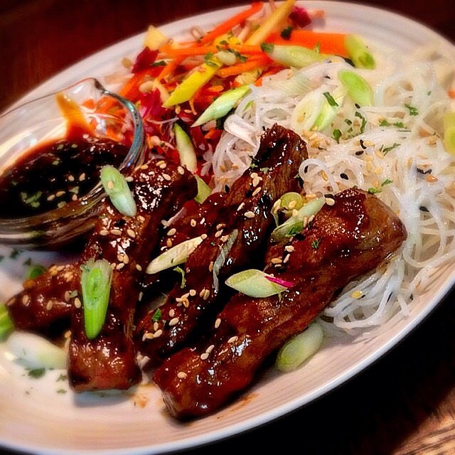 """""""Korean Beef Bulgogi"""" with """"Pickled Veggies"""" and """"Thin Rice Noodles"""""""