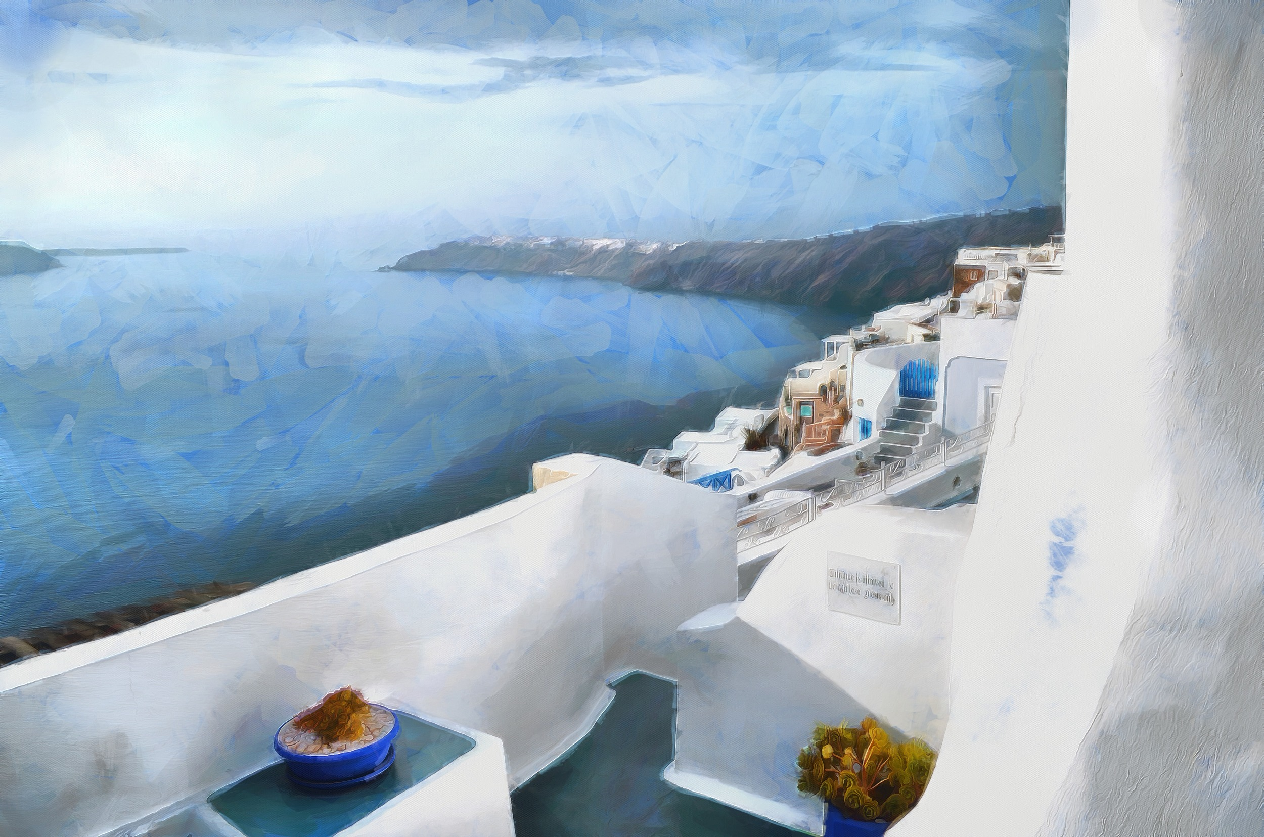 """White on White on Blue""-Santorini by R.Fisher"