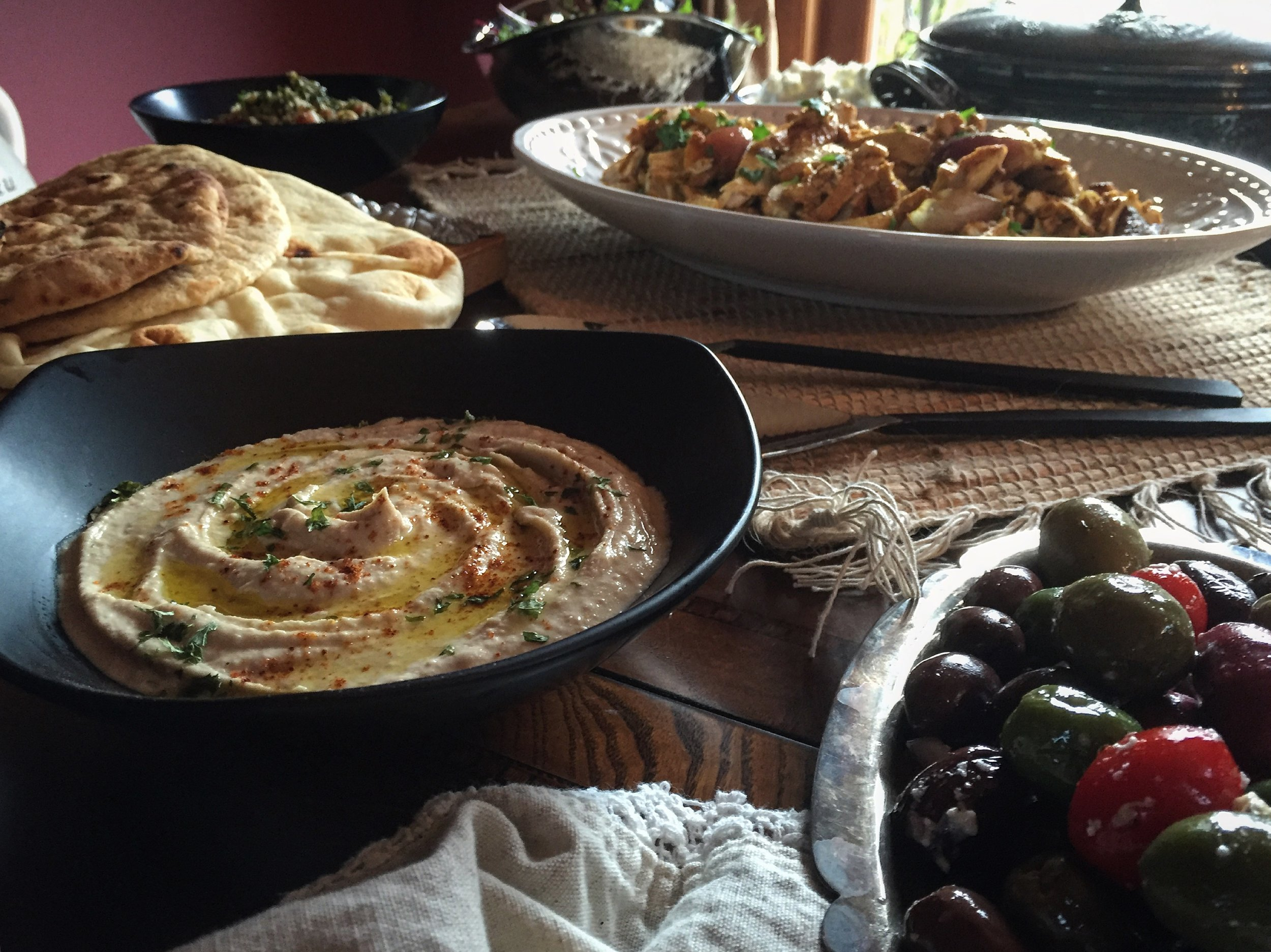 """""""Harrissa Hummus, Olives, Chicken & Pita"""""""