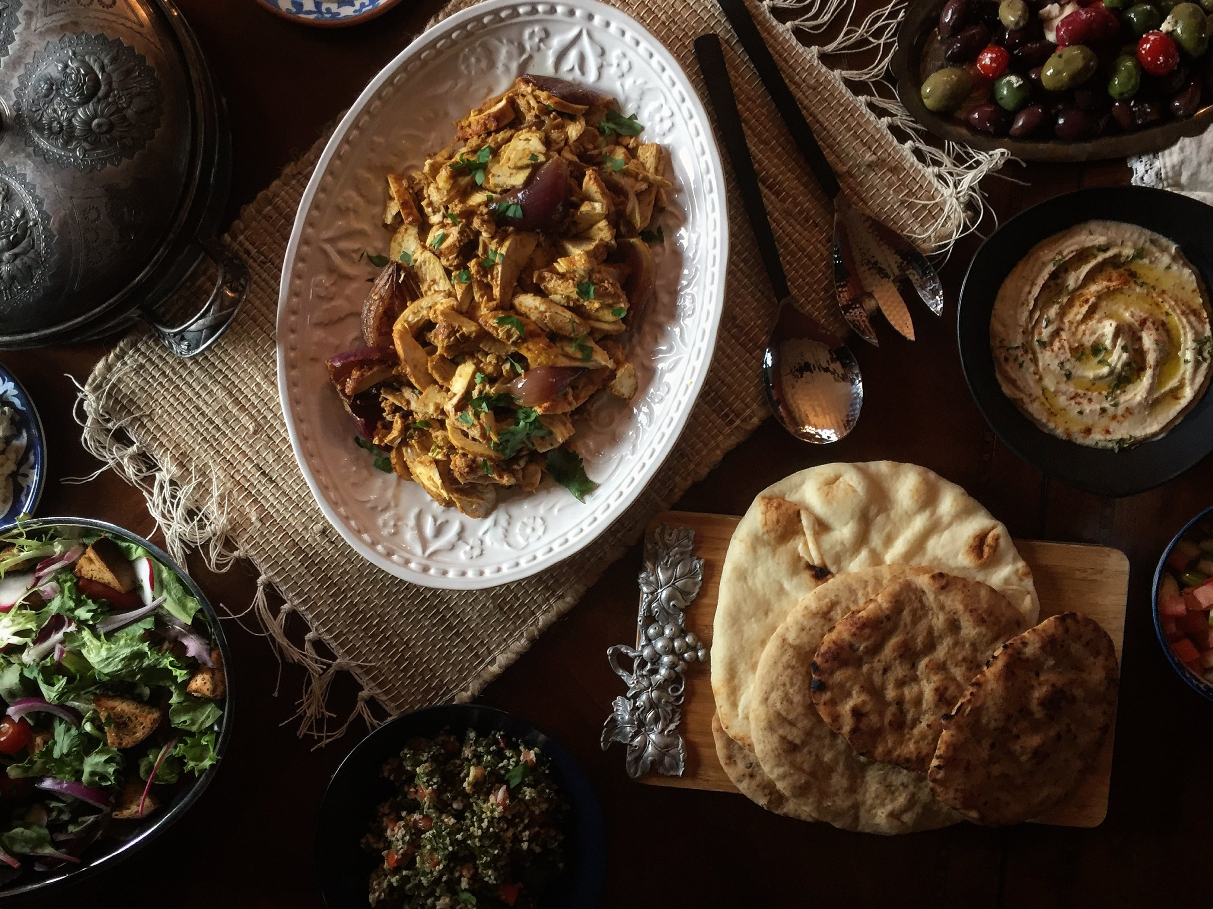 """Chicken Shawarma, Tabbouleh, Fattoush, Olives, Feta, Pita & Hummus"""