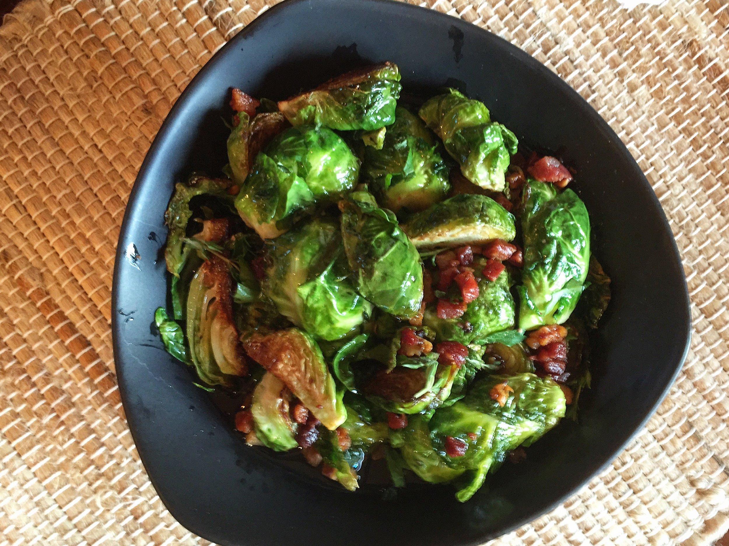 """Brussels Sprouts with Pancetta"""