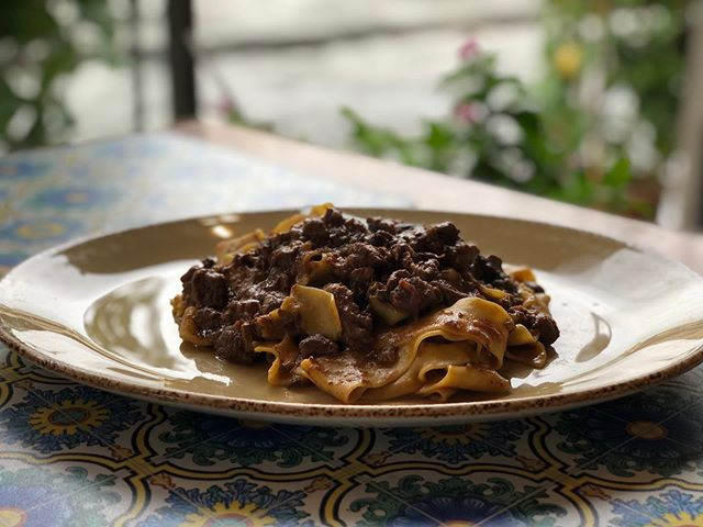 "Oh my goodness was this delicious.. - ""Pappardelle con ragu di cinghiale alla toscana"" - Have seen my foodie friend @vincenzosplate make this delish dish and always wanted to try it for myself.. - In NY there's not much in the way of fresh wild boar to be had.. - But her in Tuscany(Toscano) and in the heart of Florence(Firenze) I finally got my chance.. - Yum doesn't even come close to describing it.. • #yum #chefonthego #definitelydelish #tasty #foodtravel #travel #vacay #vacation #italia #italy #italianfood #itsliancuisine #delish #pasta #ragu #goodeats"