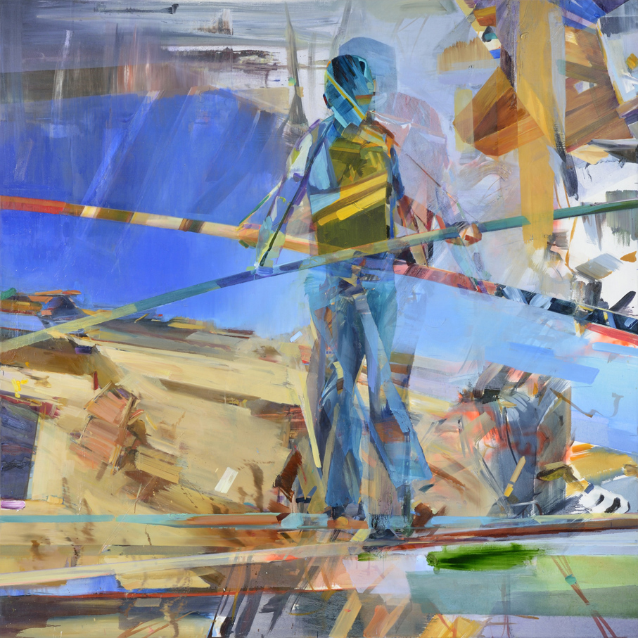 Untitled (Slasher),  2015, oil and spraypaint on canvas, 200 x 200cm. Private collection, UAE