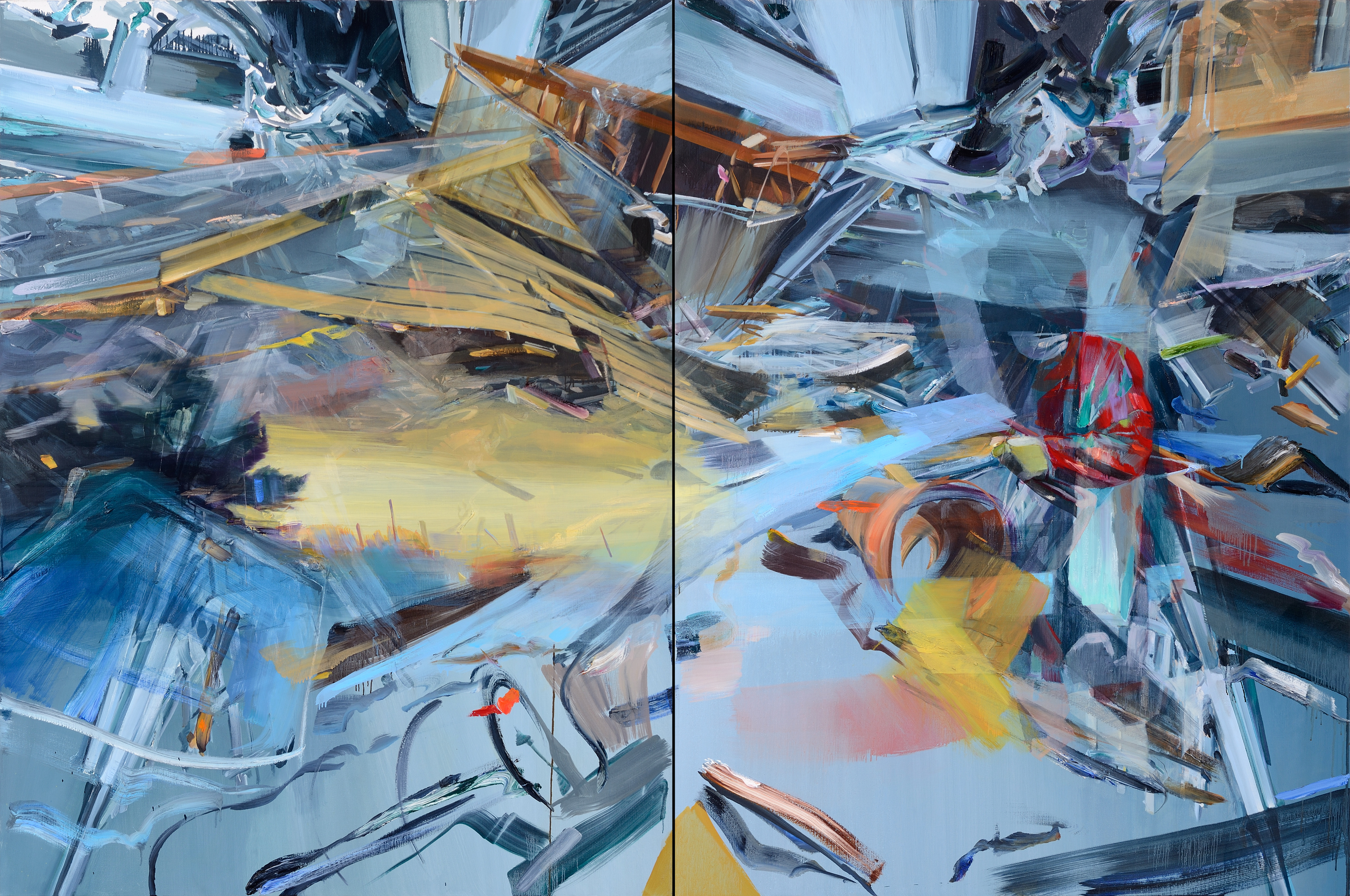 Take the landscape with you , 200 x 300cm (diptych), oil on canvas, 2012.Private collection, France