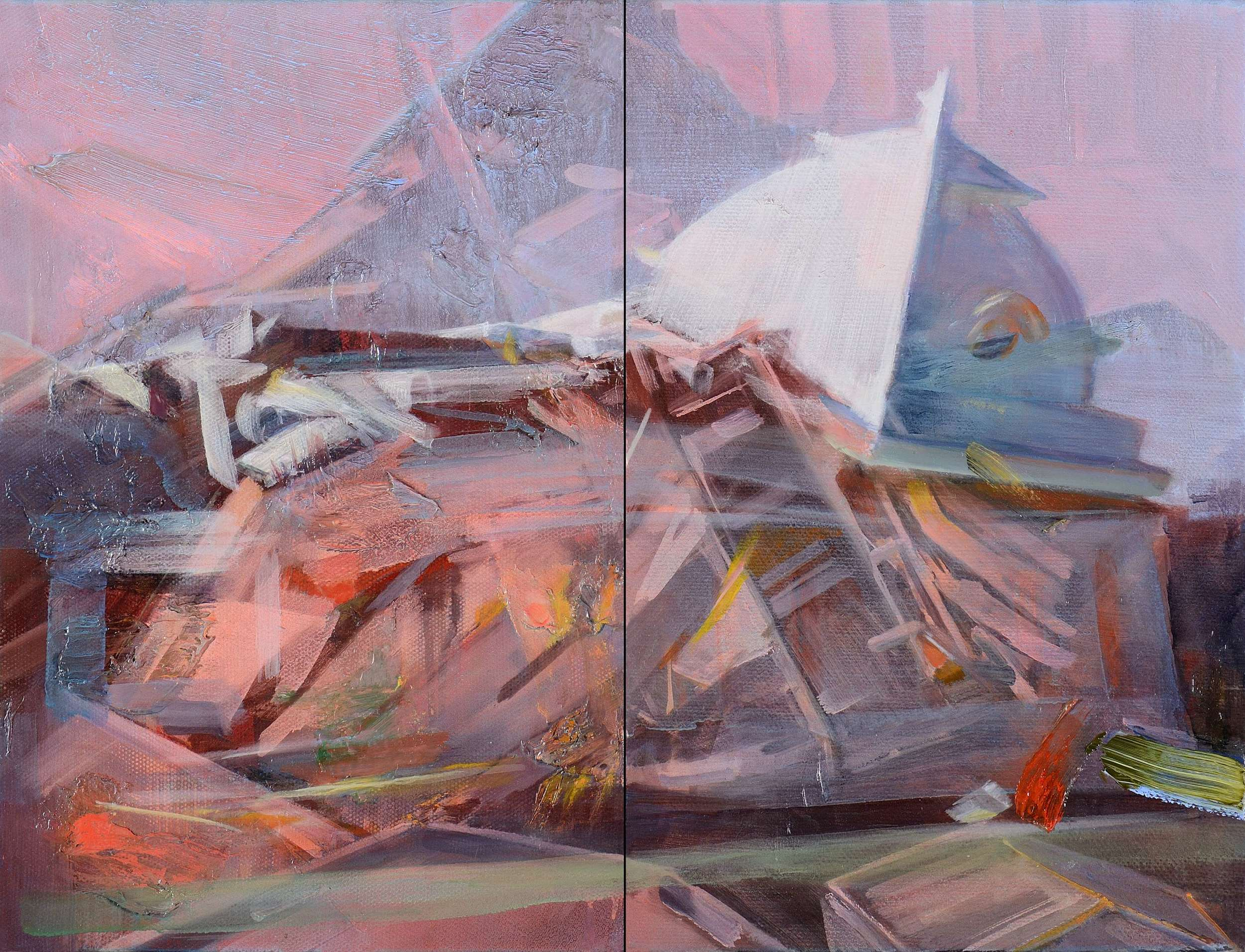 Untitled , 2012, oil and alkyd on canvas, 43 x 58cm (diptych). Private collection,France