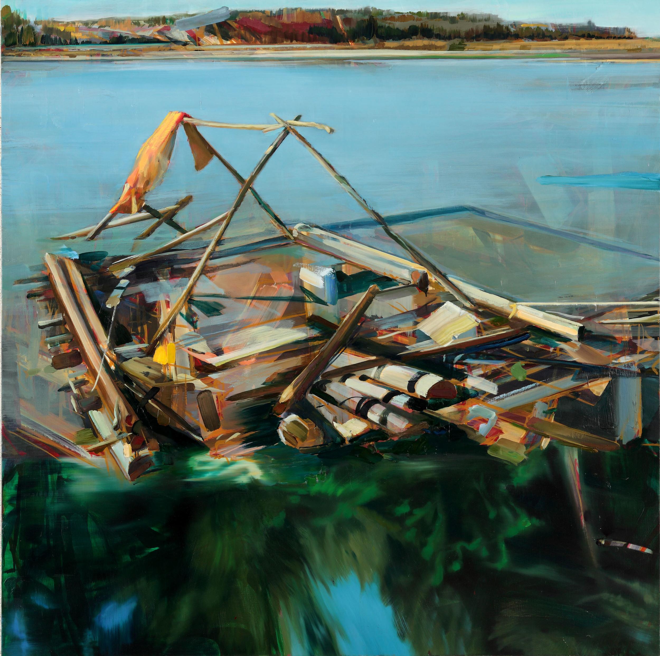 Sans Titre (Mobile home) , 2011, oil on canvas, 150 x 150cm. Collection Philippe Piguet , France