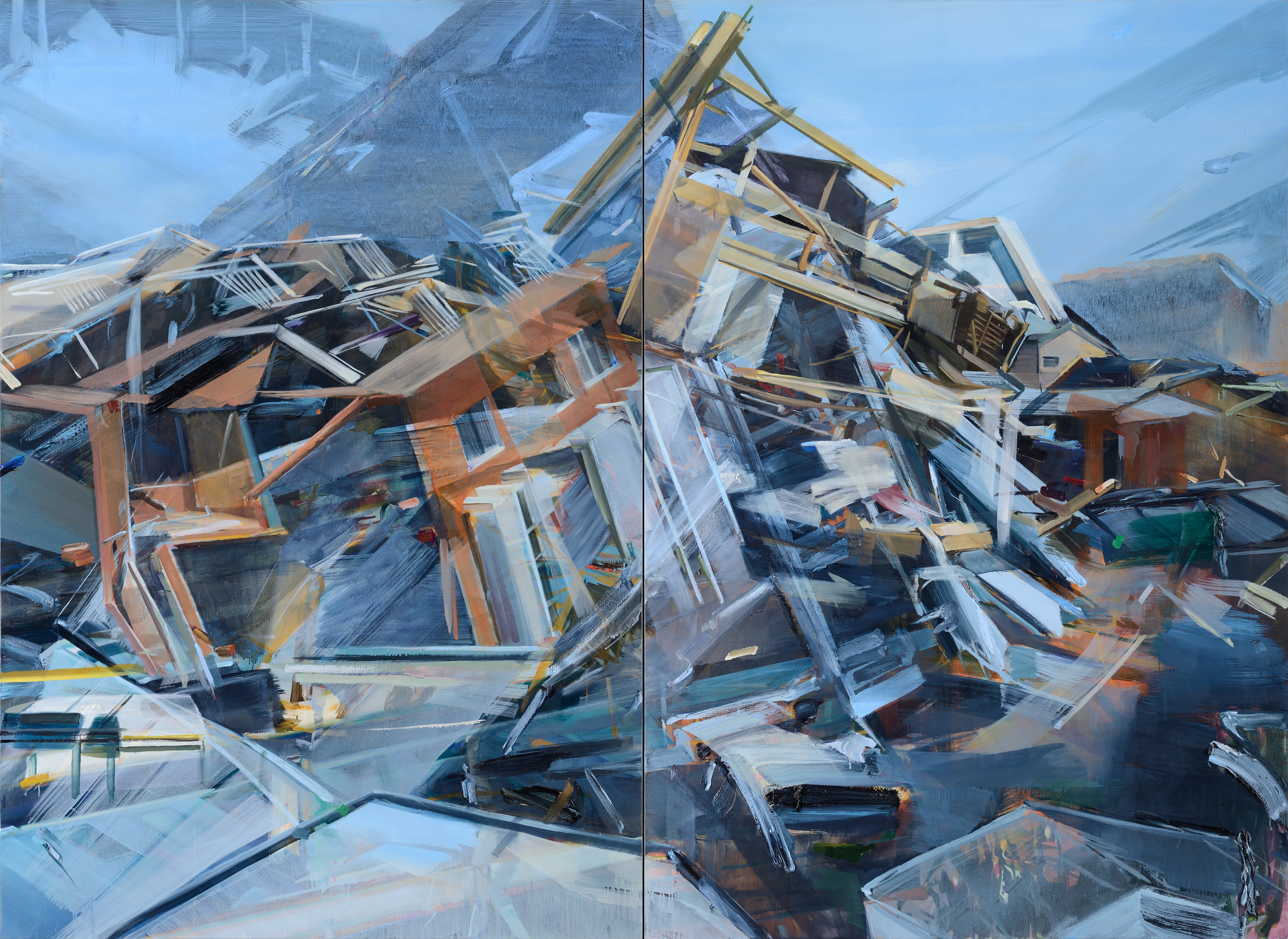 Wave , 2012, oil and alkyd on canvas, 200 x 270cm (diptych). Private collection,France