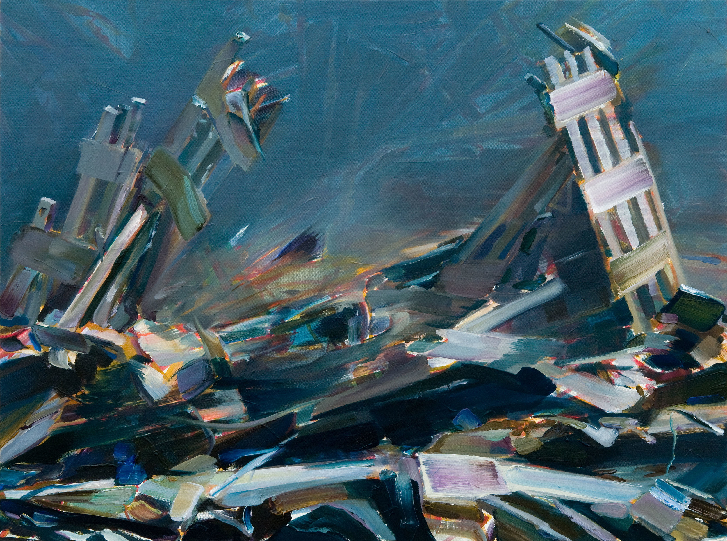 Twin Towers - Thailand , 2009, oil on canvas, 73 x 100cm. Private collection, France